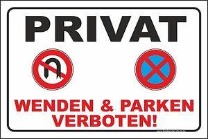 20x30cm parkverbot schild aufkleber parken wenden verboten. Black Bedroom Furniture Sets. Home Design Ideas