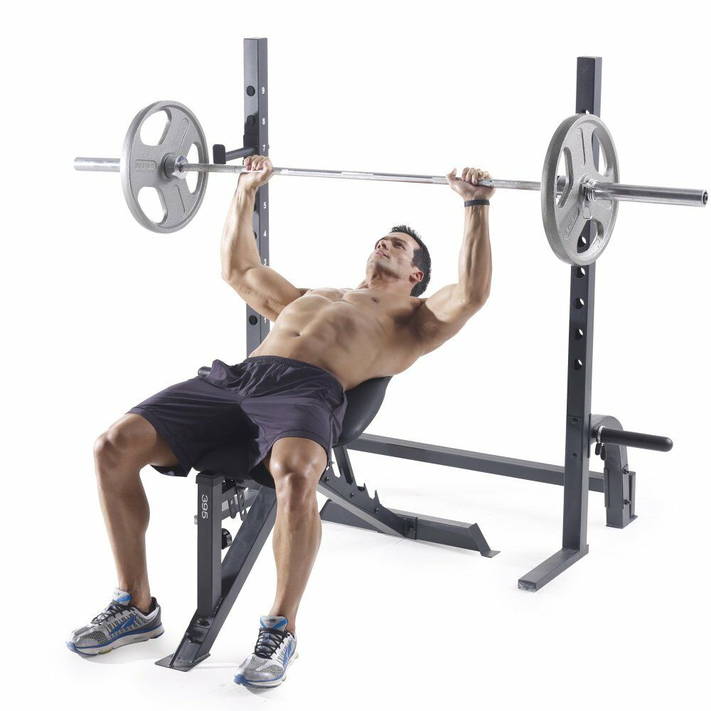 Olympic Bench Press Bar Holder Home Gym Adjustable Incline Weight Lifting Leg US