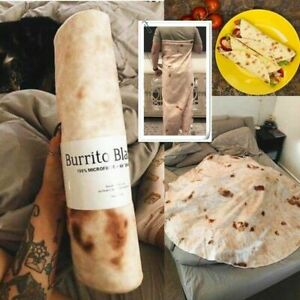 "Adults Kids Burrito Blanket Throw Tortilla 70"" Round Flannel Fleece Wrap Blanket"