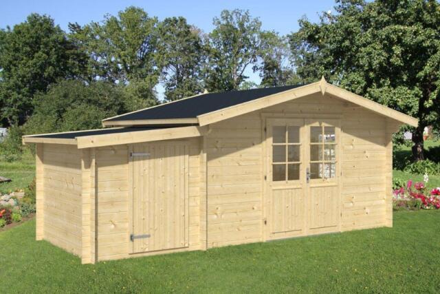 44mm Gartenhaus 400x300 cm 28 mm Anbauschuppen Gerätehaus Schuppen Holzhaus Holz
