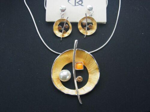 Joyas set cadena collar y pendiente aretes ohrhänger perle pedrería