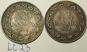 1915-amp-1916-Canada-Large-Cent-Penny-King-George-V-Lot-of-2-Coins-LC23