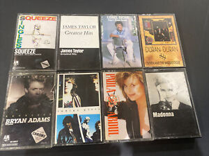 80's Rock Pop Cassette 8 Tape Lot - Madonna, Lionel Richie, Duran Duran, + More