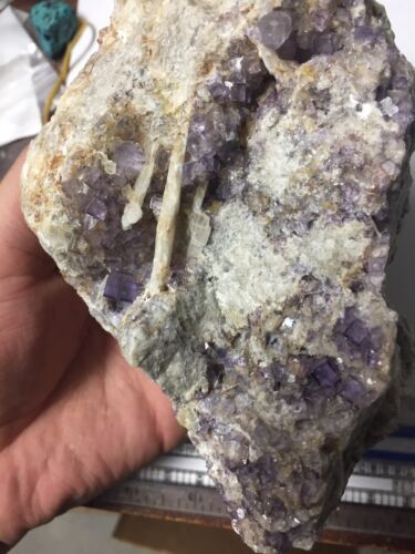 2.5lb Big Purple Fluorite On Barite Crystal Cluster Blanchard Mine NM