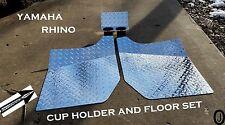 Yamaha Rhino Diamond Plate FLOOR & CUP Holder Set 2004 to 2013
