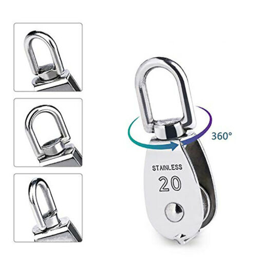 Stainless Steel Wire Rope Crane Pulley Block M15//M20 Lifting Crane Swivel Tools