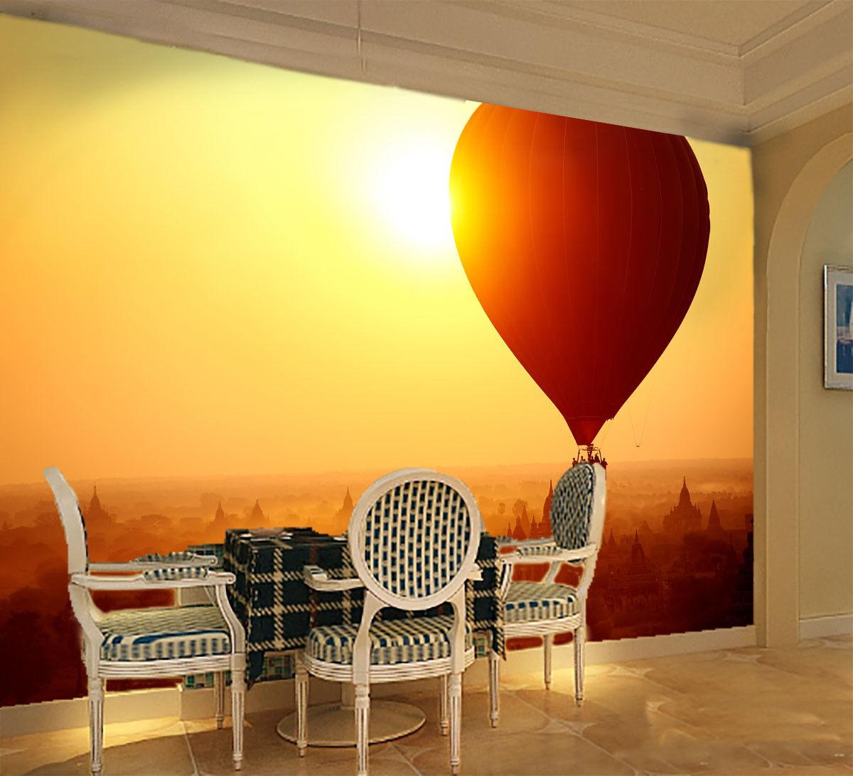 3D Sunny Balloon 724 Wallpaper Mural Paper Wall Print Wallpaper Murals UK Lemon
