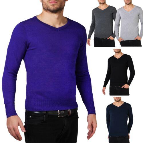 Herren Pullover V-Ausschnitt Weiche Baumwolle Einfarbig Strick Basic M L XL XXL