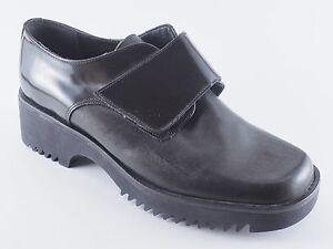 CENTRO-Damen-Schuhe-36-Leder-Halbschuhe-Klettverschluss-Schwarz-NEU