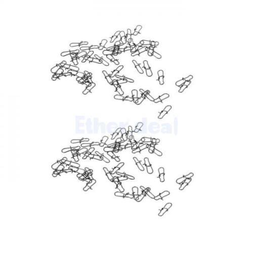 100 Stk Angeln Haken Fastlink Clips Snap aus Metall Haken /& Schnur Verbinder