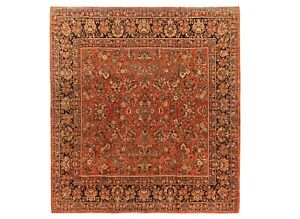 """Hand Knotted Wool Rust Fine Square Sarouk Oriental Rug Carpet 10'1"""" x 10'2"""""""