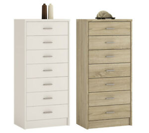 Crescita-Tall-Chest-of-7-Drawers-in-Oak-or-White-Narrow-Cabinet-Bedroom-Cupboard