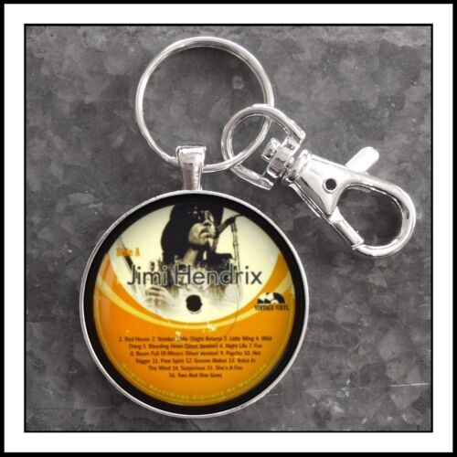 Jimi Hendrix Vintage Vinyl Record Label Photo Keychain