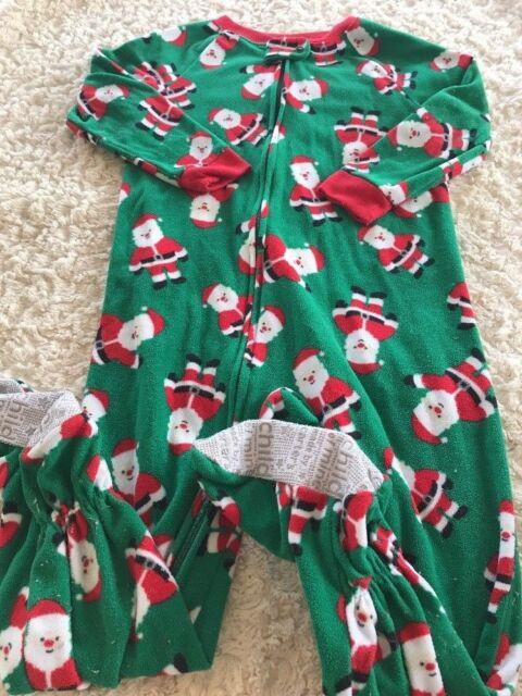Child Of Mine Boys Green Red Santa Christmas Fleece Long Sleeve Pajamas 3T c9013afc3