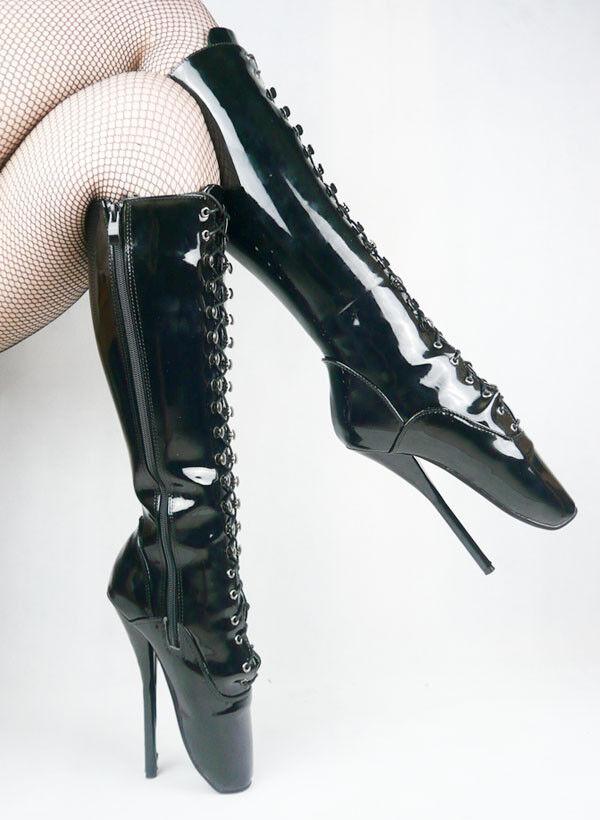 BLACK PVC KNEE High Ballet Boots, high heals, sexy boot 18 CMS