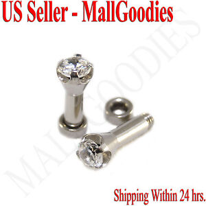1254-Screw-on-fit-Clear-Solid-CZ-Prongs-Ear-Plugs-Retainers-8-Gauge-8G-3-2mm