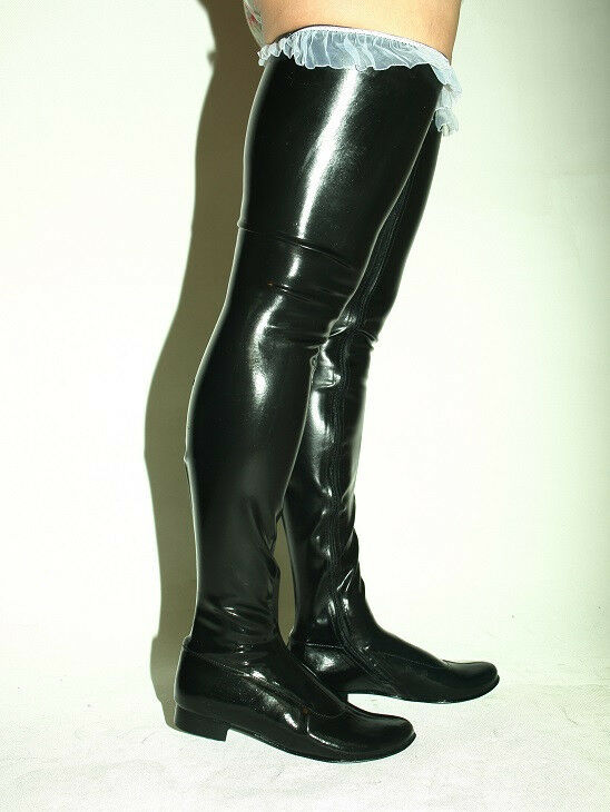 BLACK OR RED 100% LATEX RUBBER BOOTS SIZE 6-16 HEEL-0' -- FROM POLAND