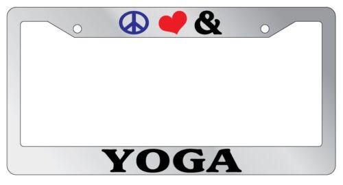 Chrome License Plate Frame Peace Love And Yoga Auto Accessory Novelty 2279