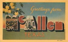 GREETINGS FROM McALLEN TEXAS - ART DECO - LINEN - LARGE LETTER POSTCARD