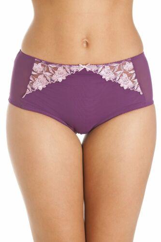 Camille Damen Panty mit Spitze im Blumendesign Violett Lila