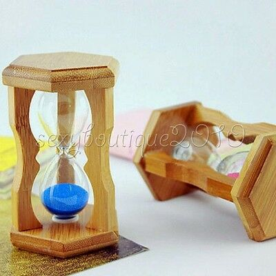 Hexagonal Wood Hourglass Sand Timer Clock Glass Home Decoration Gifts Toys New