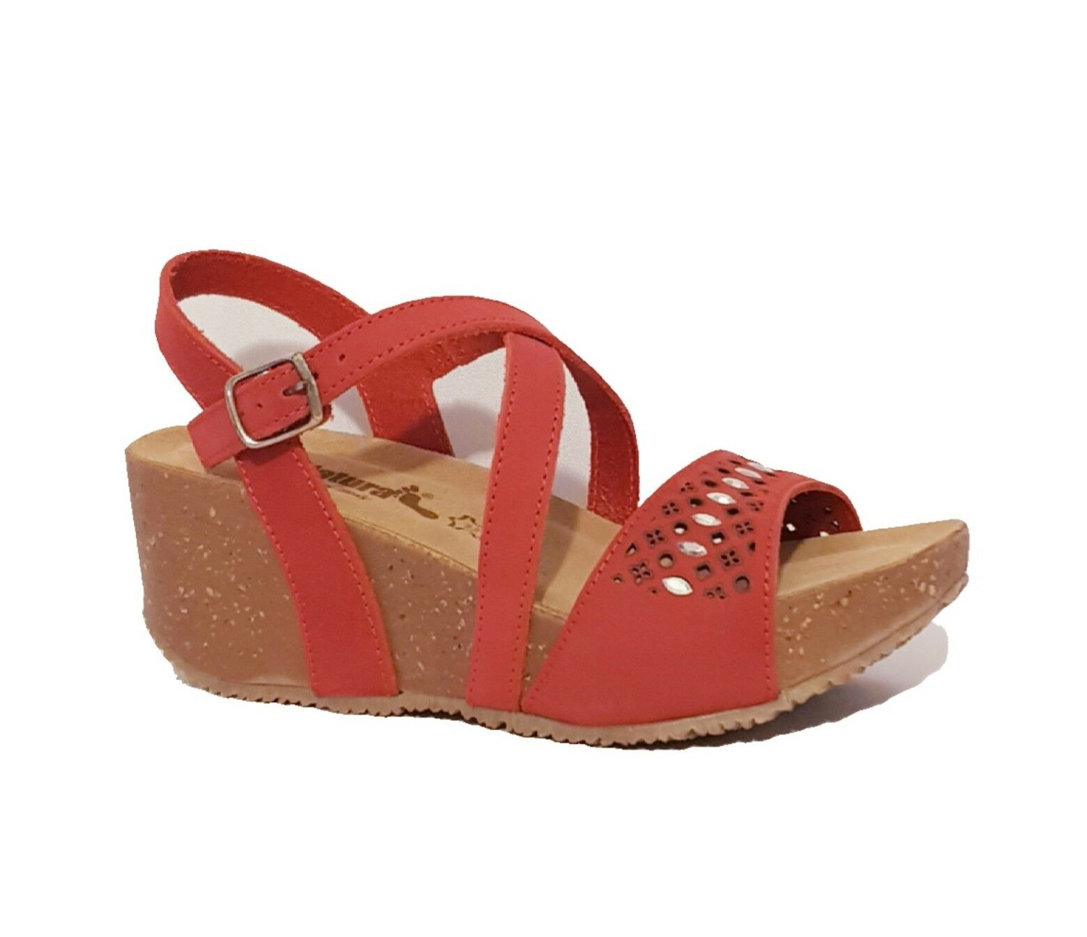 BIONATURA 24 A 810  CORAL rot LEATHER WEDGE SANDALS MADE IN ITALY LADIES
