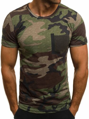 OZONEE mixd 7044 Hommes T-shirt manches courtes personnage souligne Camouflage Slim Fit Fitness