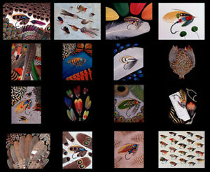 Set-of-16-NOTECARDS-from-Rare-and-Unusual-Fly-Tying-Materials-by-Schmookler-Sils
