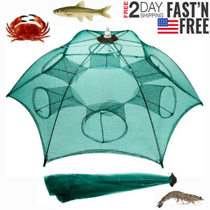 Fishing-Bait-Trap-Crab-Net-Crawdad-Shrimp-Cast-Dip-Cage-Fish-Minnow-Foldable-NEW