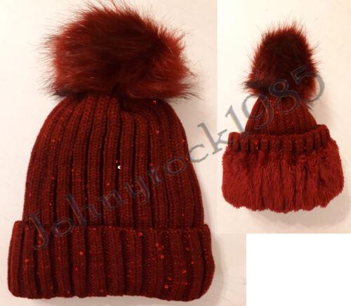 ❆ Damen winter Mütze ❆ Gefüttert ❆ Strick Mütze ☃ Kunst Fellbommel ☃ Pailletten❆