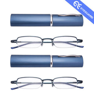 32721a37c9c Image is loading EYEGUARD-Pen-liked-Case-Reading-Glasses-Metal-Frame-