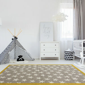 Image Is Loading Trendy Ochre Grey Kids Star E Carpet Bedroom