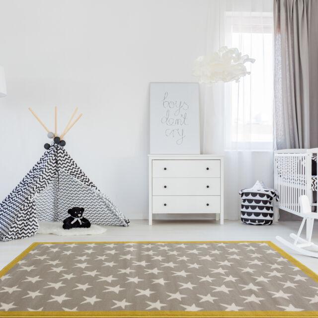 Trendy Ochre Grey Kids Star E Carpet Bedroom Nursery Rug Boy S Mat Rugs
