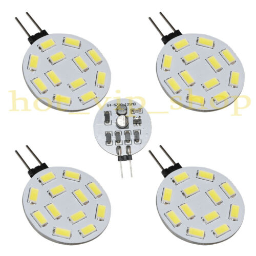 4x G4 LED Bulbs 1.7W 10-30V 450Lm super white Lamps Light 12-5730 SMD side-pin