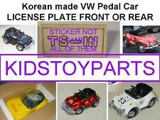 VINTAGE LICENSE PLATE FOR VW VOLKSWAGEN BEETLE BUG PEDAL CAR ELECTRIC VERSION