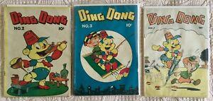 Scarce Golden Age Lot/3 DING DONG! Comics #2 VG/FN  #3 VG/FN  #5 VG/FN 1946-47!
