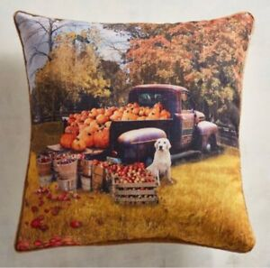 Pier 1 Vintage Truck Apple Pumpkin Indoor Outdoor Pillow