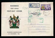 RHODESIA 1965 UDI ILLUST.ENV 2/6 BORROWDALE REGISTERED..POSTAGE DUE GB NOT VALID