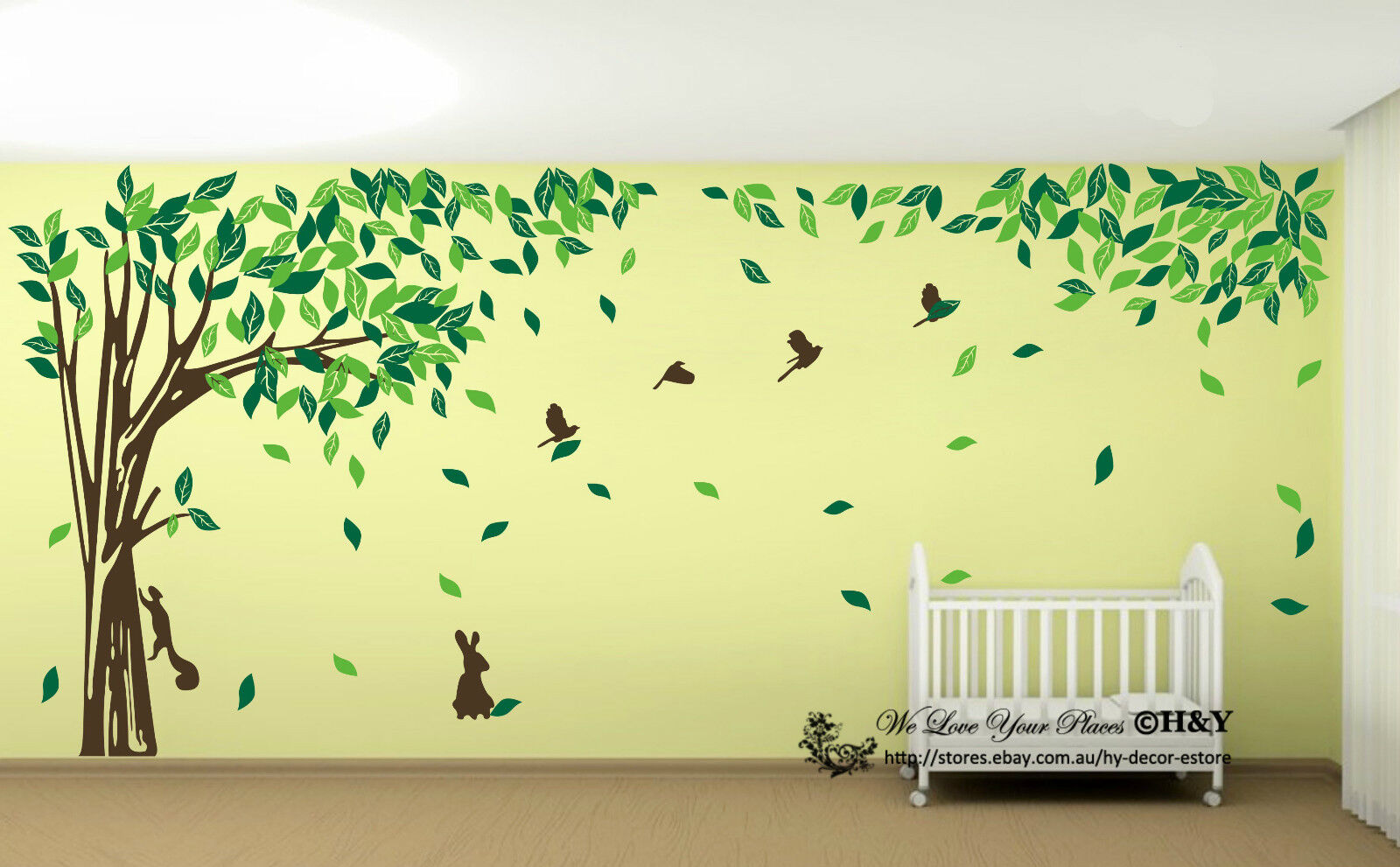 Jungle Tree Removable Wall Art Stickers Kids Nursery Vinyl Decals ...