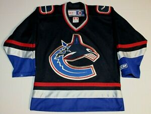 NHL-Hockey-Vintage-90s-Vancouver-Canucks-Sewn-Jersey-Youth-S-M-Medium-CCM-Blue
