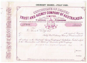 Trust and Agency Co. of Australia, 1944, SPECIMEN, seltener in lila, VF