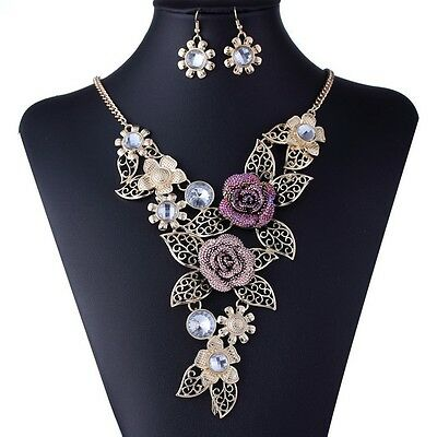 Golden Chain 3D rose flower cluster leaf statement choker necklace earrings set