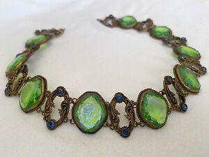 Vintage Jade Green Czech glass links Art Deco gilded chain bracelet