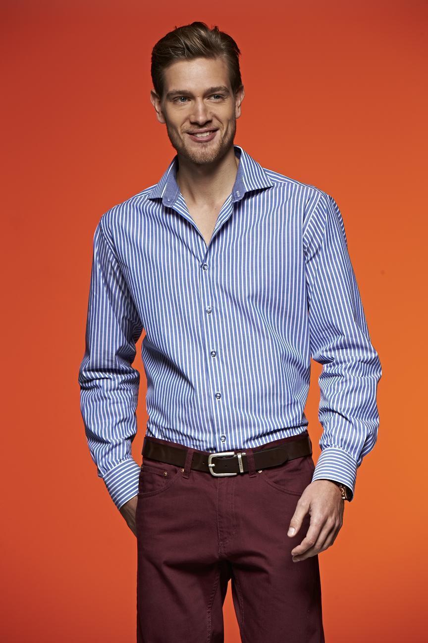 Camicia da uomo a righe casual Langarm S - 3XL bügelleichte POPELINE qualità