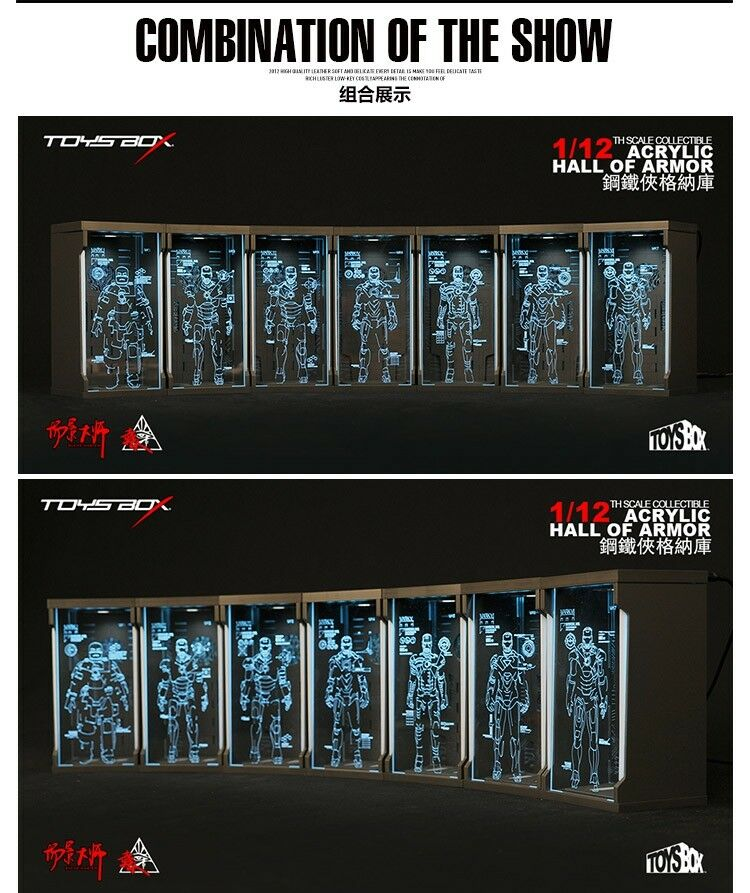 1 12 TOYS-BOX Comicave SHF Iron Man Acrylic Hall of Armor Display Dust Box