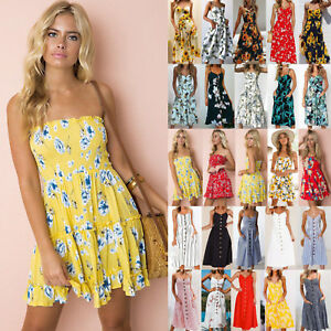 UK-Women-Strapless-Floral-Backless-Sundress-Ladies-Summer-Beach-Mini-Swing-Dress