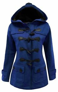 16-26 Ladies New Royal Blue Fleece Duffle Style Hooded Coat Long Jacket Womens