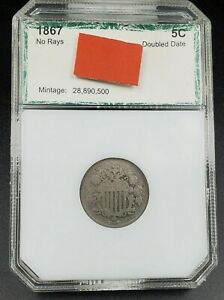 1867 Shield Nickel Variety Error Coin RPD Repunched Date PCI AG Grade Certified