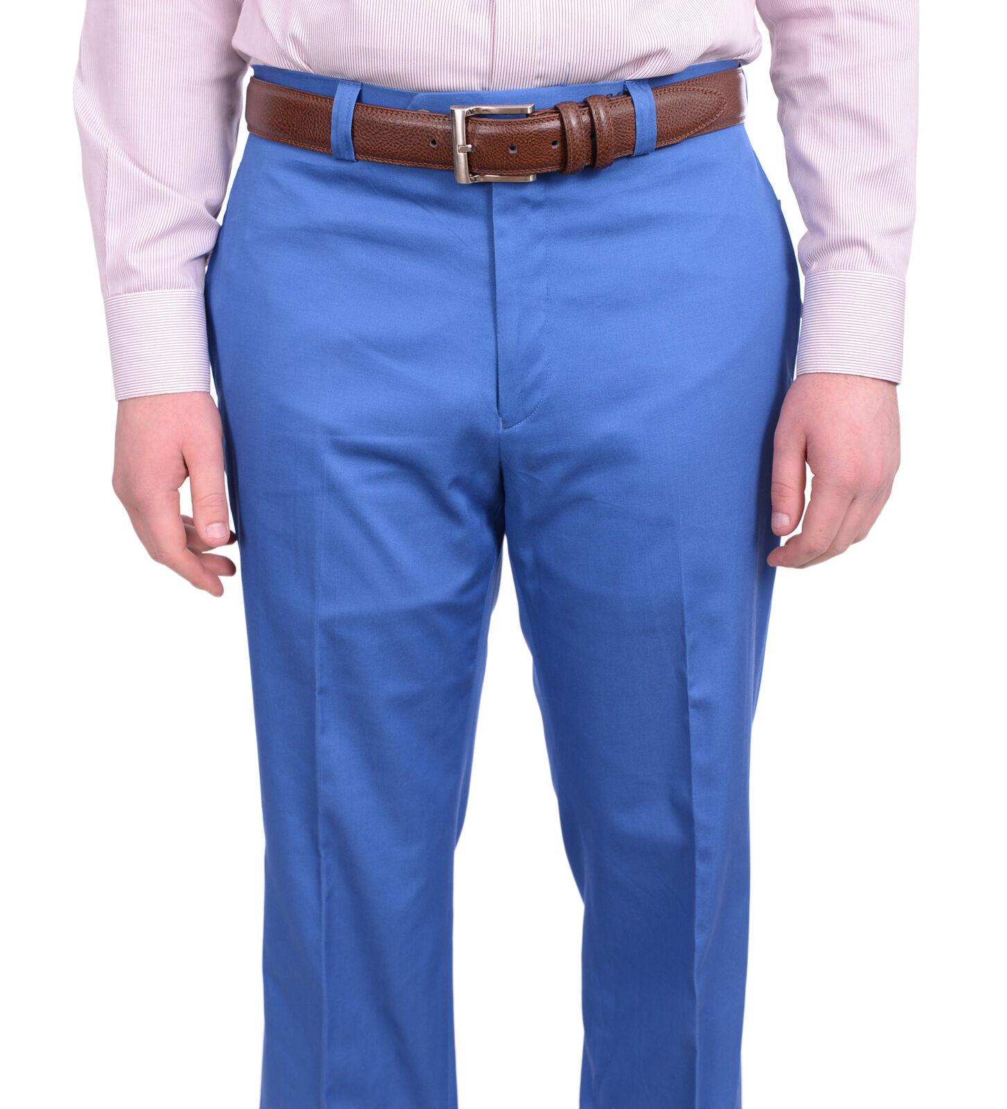 Lauren Ralph Lauren Classic Fit Solid bluee Flat Front Cotton Dress Pants