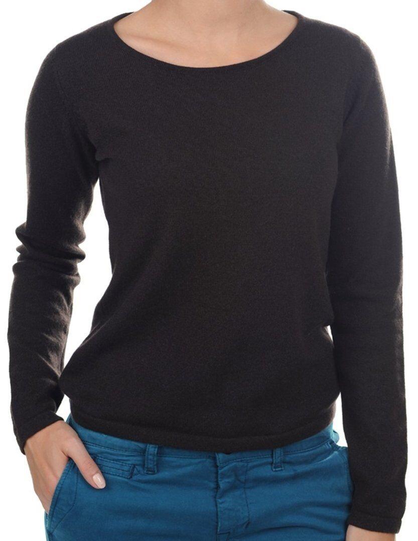 Balldiri 100% Cashmere Damen Pullover Rundhals 2-fädig dunkelbraun XL